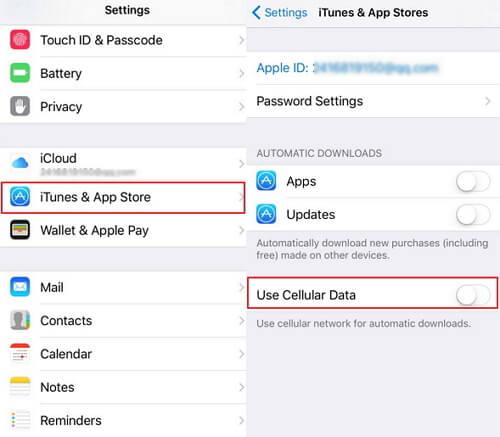 Désactiver les données cellulaires