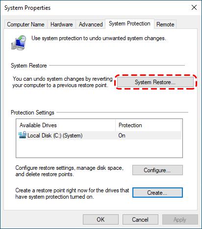 시스템 복원으로 삭제 된 파일 복구