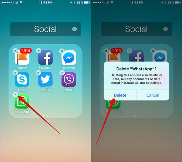 Désinstallez Whatsapp Pour restaurer les messages Whatsapp